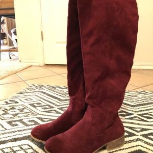 Shoes - Maroon Tall Over the Knee Suede Boots - Size 9